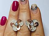 Серебряные сережки с золотом и  цирконом Инес, фото 3