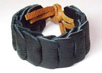 Браслет кожаный плетеный, черный с корич.веревками 8_10_120a37