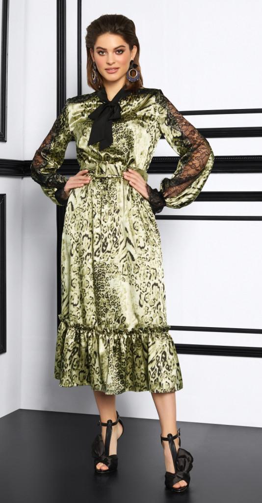 Платье Lissana-3913/1 белорусский трикотаж, зеленый, 44