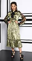 Платье Lissana-3913/1 белорусский трикотаж, зеленый, 44, фото 1
