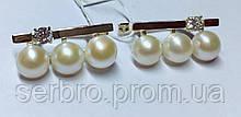 Срібні сережки з білим золотом і перлами Луїза