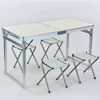 Набор для пикника (стол+4стула) (стола 60х120см, металл, ламин.ДСП) PZ-8188
