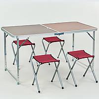 Набор для пикника (стол+4стула) (стола 60х120см, металл, ламин.ДСП) PZ-8278