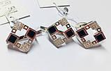 Серебряный квадратный набор с ониксом Дениз, фото 3