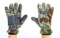 Перчатки для охоты рыбалки и туризма теплые флисовые SP-planeta (флис, полиэстер, PVC, закрытые пальцы, р-р L, камуфляж Realtree)
