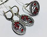 Срібний набір з червоним цирконом Флоренція, фото 2