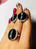 Серебряный гарнитур с ониксом и золотом Мадлен, фото 6