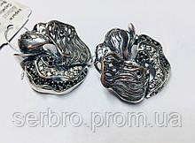 Серебряные серьги в виде цветка с цирконами Роза