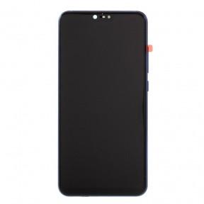Дисплей Xiaomi Mi8 Lite (Mi 8 Lite), Mi8X з сенсором (тачскрін) чорний з рамкою синього кольору
