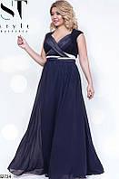 Длинное вечернее нарядное платье шифон размер 48-52 универсальный