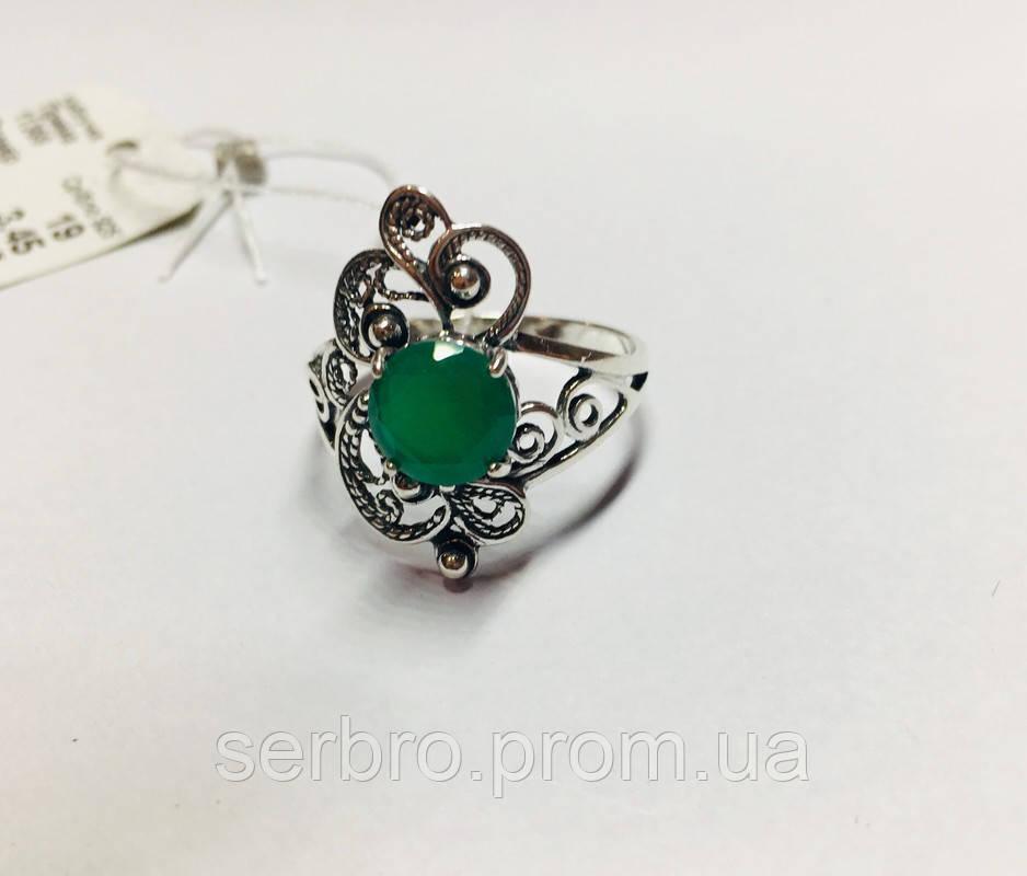 Ажурне кільце із зеленим цирконом срібло Прима