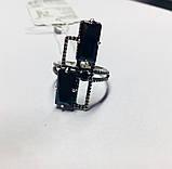 Прямокутне кільце в сріблі з фіанітами Домініка, фото 2
