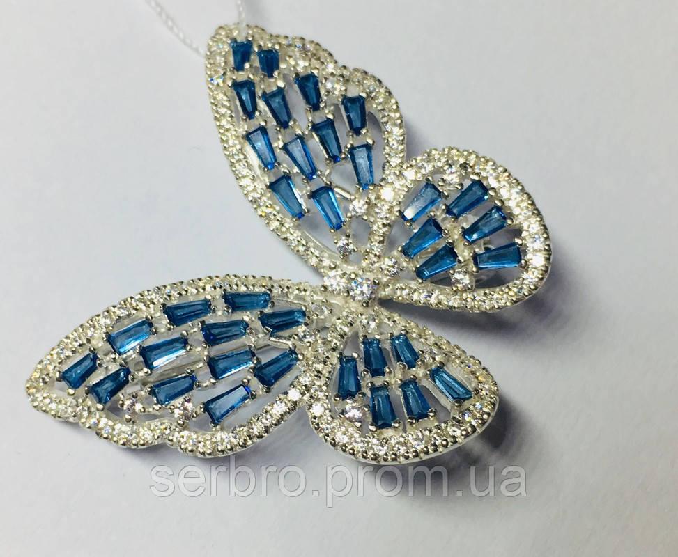 Брошь с голубым цирконом серебро Бабочка