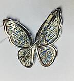 Брошь с голубым цирконом серебро Бабочка, фото 2