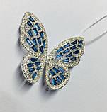Брошь с голубым цирконом серебро Бабочка, фото 3
