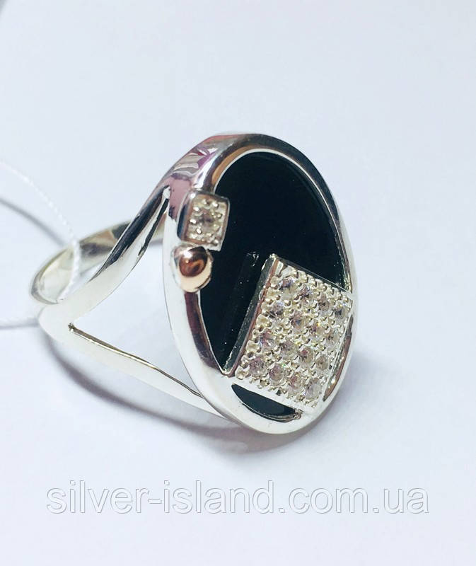 Овальное серебряное кольцо с золотом и ониксом Нинет
