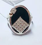 Овальное серебряное кольцо с золотом и ониксом Нинет, фото 3