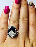 Овальное серебряное кольцо с золотом и ониксом Нинет, фото 4