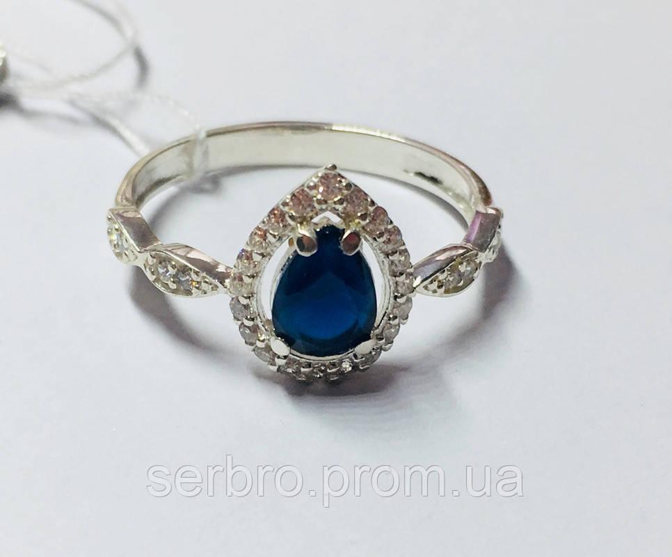 Срібне колечко з синім цирконом Кетрін