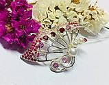 Брошка с жемчугом и розовым цирконом серебро Сатурния, фото 3