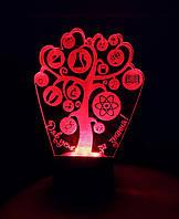 Ночник Дерево знаний, 3д 3d светильник, лампа, несколько разных подсветок