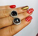 Сережки із золотом і чорним цирконом срібло Мей, фото 6