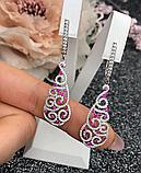 Довгі сережки з рожевим цирконом срібло Наргіз, фото 2