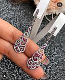 Серебряные серьги с подвесом и розовым цирконом Наргиз, фото 3