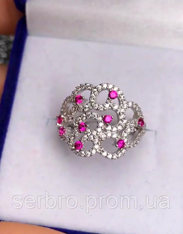 Серебряное родированное кольцо с розовым цирконом Наргиз