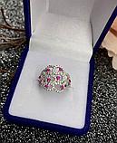 Серебряное родированное кольцо с розовым цирконом Наргиз, фото 2