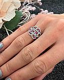 Серебряное родированное кольцо с розовым цирконом Наргиз, фото 3