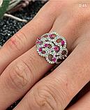 Серебряное родированное кольцо с розовым цирконом Наргиз, фото 4