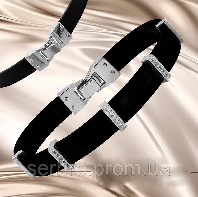 Каучуковий браслет з цирконом срібло Саті