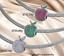 Серебряный шарм с цирконами Apple