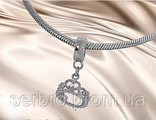 Родированый шармик с цирконом серебро Коронка
