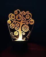 3d-светильник Дерево знаний, 3д-ночник, несколько подсветок (батарейка+220В)