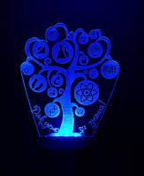 3d-светильник Дерево знаний, 3д-ночник, несколько подсветок (на пульте)