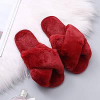 Тапочки домашние женские комнатные. Теплые меховые тапки  38-39 р. (красные)