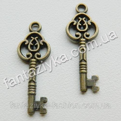 Подвеска металлическая Ключ старинный 25мм, бронзовый