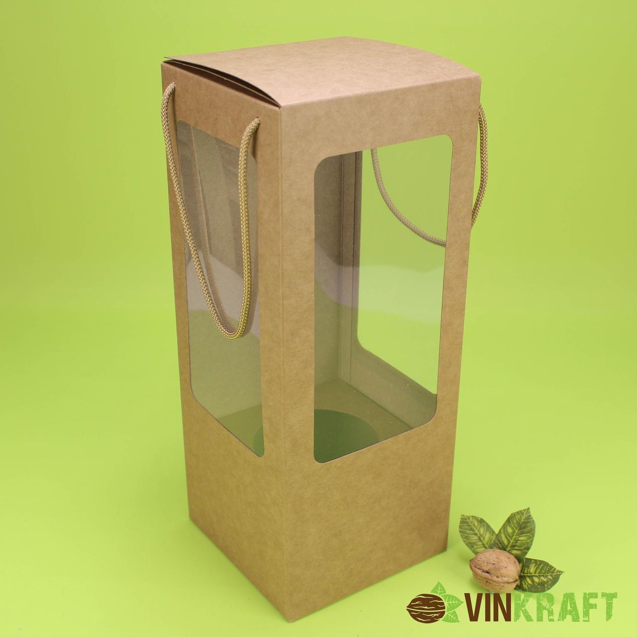 Подарункова коробка 140*140*350  з вікном і ручками, крафт