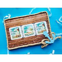 Декоративное настенное  панно картина Маяки в технике декупаж из эко-материалов в морском стиле.