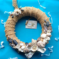 Декоративный венок из эко-материалов в морском стиле. Диаметр 27 см. Ручная работа.