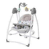Кресло-качалка 3 в 1 серая питание от сети и батареек CARRELLO Grazia CRL-7502 Lovely Grey
