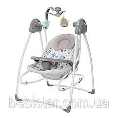 Кресло-качалка шезлонг 3в1 серая питание от сети и батареек CARRELLO Grazia CRL-7502 Lovely Grey с рождения