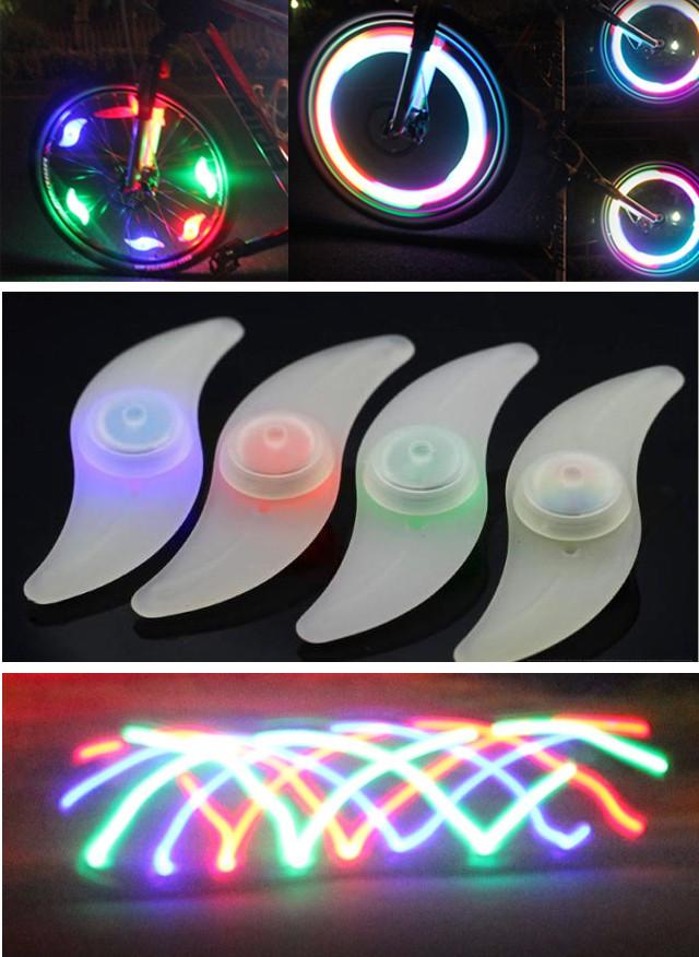 """Силиконовая """"S""""-образная одноцветная диодная мигалка / моргалка на колесо / спицу (5 РАСЦВЕТОК)"""