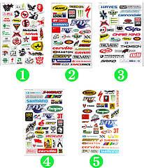 Лист формата A4 с наклейками логотипов велосипедных торговых марок (5 ВАРИАНТОВ)
