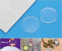 (18шт, лист) Прозрачные круглые эпоксидные наклейки Ø24мм Цена за лист