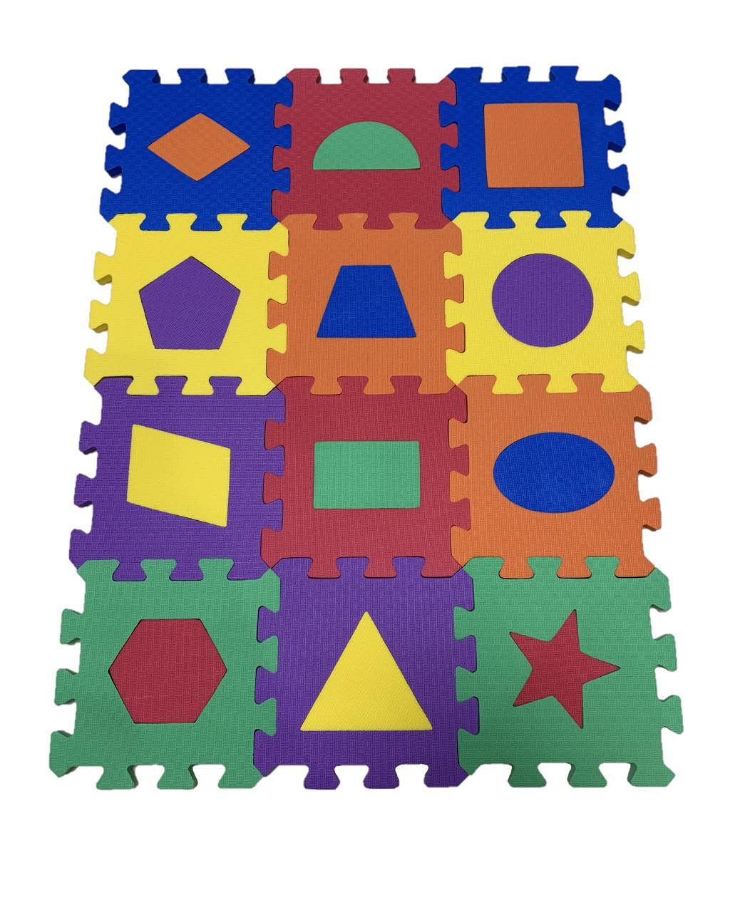 Коврик-пазл EVA , «Весела геометрія» набір 12 шт. 0,22 м2, 13,5х13,5 см, т. 8-10 мм  щ. 100 кг/м3, TERMOIZOL®