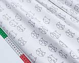 """Лоскут сатина """"Мордочки котов"""" серые на белом, № 1706с, размер 36*78 см, фото 3"""