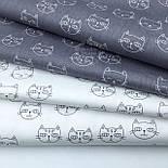 """Лоскут сатина """"Мордочки котов"""" серые на белом, № 1706с, размер 36*78 см, фото 4"""
